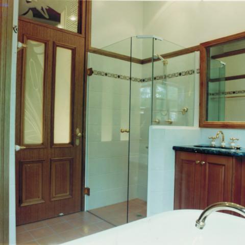 Bath vanity and shower